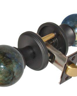 Gemstone Hardware Door Knob Labradorite Matte Black Pull