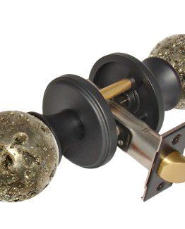 Gemstone Hardware Door Knob Pyrite Matte Black Passage