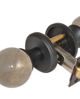 Gemstone Hardware Door Knob Smokey Quartz Matte Black Passage
